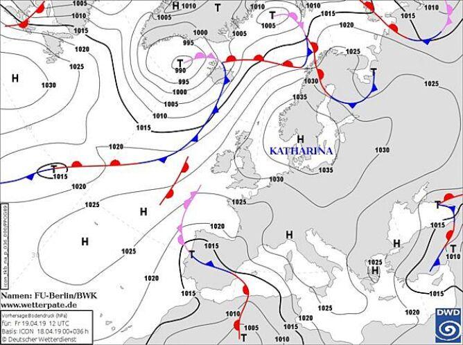 Prognoza sytuacji barycznej na piątek (DWD)