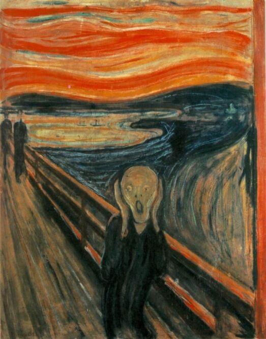 """Prawdopodobnie najbardziej znany obraz nurtu ekspresjonizmu, """"Krzyk"""" Edvarda Muncha"""