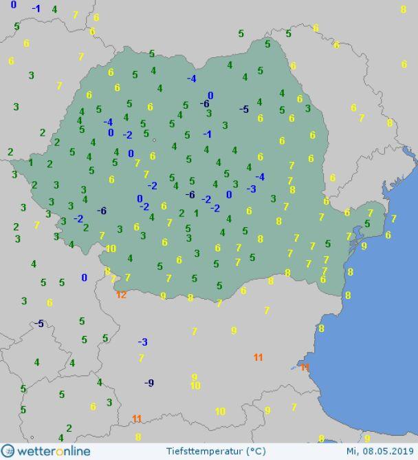 Najniższa temperatura w Rumunii 8 maja (wetteronline.de)
