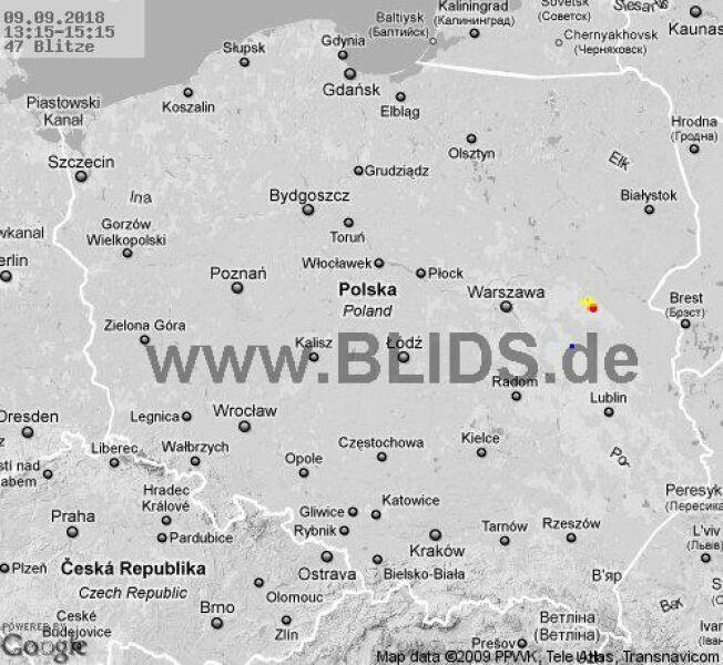 Ścieżka burz w godzinach 13.15-15.15 (blids.de)
